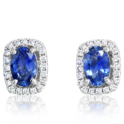 14K White Gold Blue Sapphire/Diamond Earrings | ECC084SC01WI