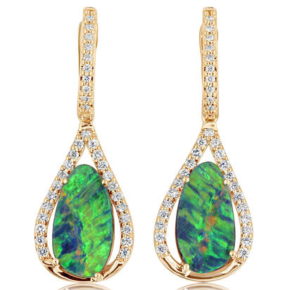 14K Yellow Gold Australian Opal Doublet/Diamond Earrings | EMDBT4A567C