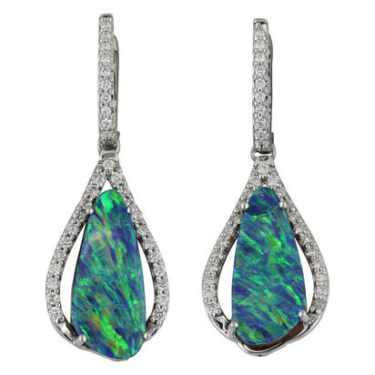 14K White Gold Australian Opal Doublet/Diamond Earrings | EMDBT4A679W