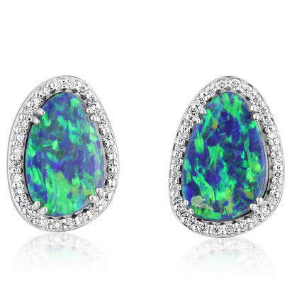 14K White Gold Australian Opal Doublet/Diamond Earrings | EMDBT5A517W