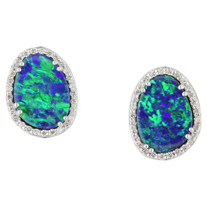 14K White Gold Australian Opal Doublet/Diamond Earrings | EMDBT5A562W
