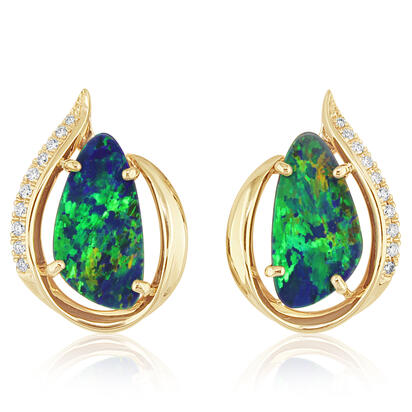 14K Yellow Gold Australian Opal Doublet/Diamond Earrings | EMDBTG30485CI