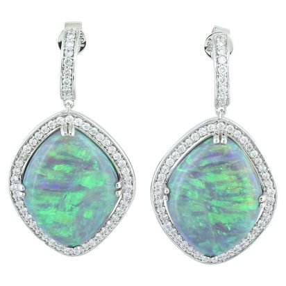 18K White Gold Australian Black Opal/Diamond Earrings | ENBFFI9801525QI