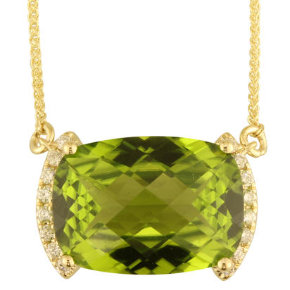 14K Yellow Gold Peridot/Diamond Neckpiece | NPF207TC2CI