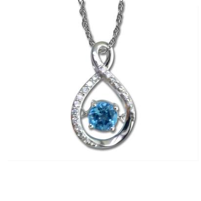 14K White Gold Blue Sapphire/Diamond Pendant (With Chain) | PPF124S33WI-CH
