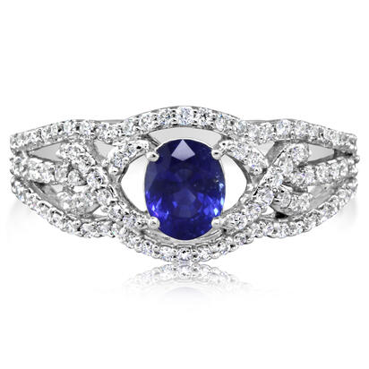 Entwine - 14K White Gold 5x6 Oval Blue Sapphire/Diamond Wedding Ring | RBC008S13WI