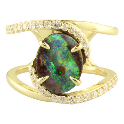 14K Yellow Gold Australian Boulder Opal/Diamond Ring | RMBO2A346CI