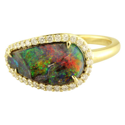 18K Yellow Gold Australian Boulder Opal/Diamond Ring | RMBO2A359EI