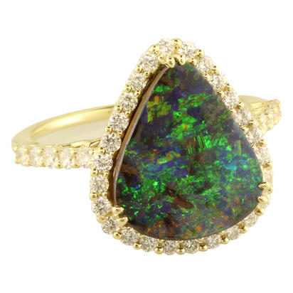 14K Yellow Gold Australian Boulder Opal/Diamond Ring | RMBO2A472CI