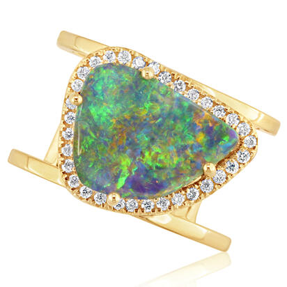 18K Yellow Gold Australian Boulder Opal/Diamond Ring | RMBO4A764E