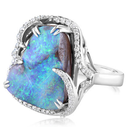 18K White Gold Australian Boulder Opal/Diamond Ring | RMBO5A1509QI