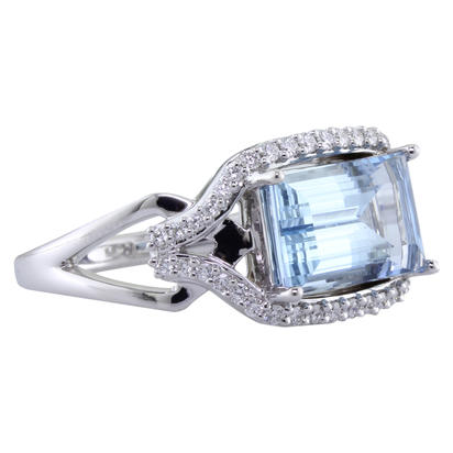14K White Gold Aquamarine/Diamond Ring | RQ0BG850276WI