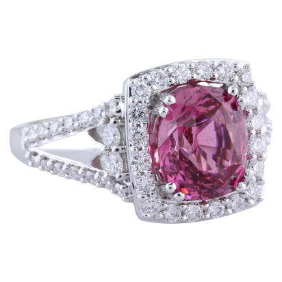 18K White Gold Pink Spinel/Diamond Ring | RSLCU450292QI