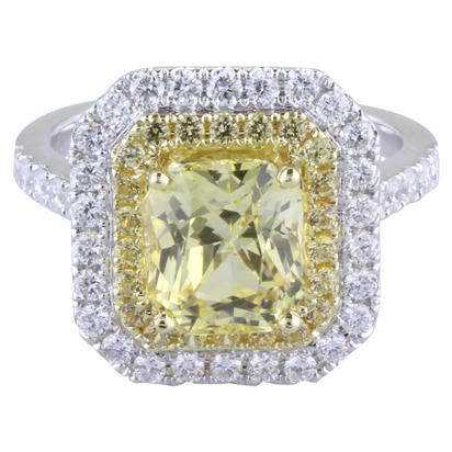 18K White and Yellow Gold Yellow Sapphire/Diamond Ring | RSYOC450361BI