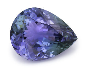 peacock tanzanite pear cut gemstone